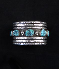 RESERVED! 156g Vintage Navajo Style Sterling Silver Cuff Bracelet w 5 Bright Kingman Turquoise Nuggets by Legendary Silversmith, Les Baker!