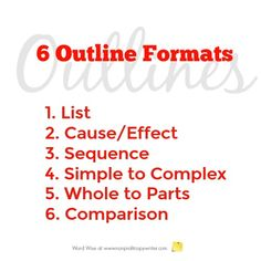 You're ready to write an outline: you've gathered ideas, processed them, and determined the main point for your piece. Now it's time to organize your content with one of these 6 outline formats. Easy Writing, Article Writing, Blog Writing, Writing A Book, Writing Tips, Writing Humor, Fiction Writing, Writing Resources, Outline Format