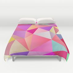 Pink Polygons Duvet Cover by House of Jennifer - $99.00 #pattern #abstract #geometric #polygon #triangles #duvet #deny