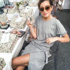 Grey t-shirt & Rockinhorses grey suede wrap skirt | @styleminimalism