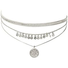 Noa Coin Charm Necklace Silver ($80) ❤ liked on Polyvore featuring jewelry, necklaces, coin charms, silver charms, triple necklace, charm jewelry and coin jewelry