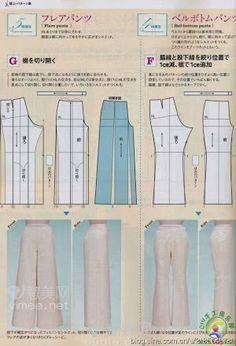patron pantalon lagen look Japanese Sewing Patterns, Dress Sewing Patterns, Sewing Patterns Free, Clothing Patterns, Pattern Sewing, Pattern Drafting, Free Pattern, Sewing Pants, Sewing Clothes