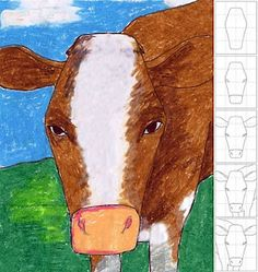 In Your Face Cow Drawing. Use a grid to help students draw LARGE. Art Projects for Kids. Cow Drawing, Funny Paintings, 4th Grade Art, Art Worksheets, Farm Art, Illustration, Art Lessons Elementary, Art Classroom, Western Art