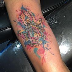 Watercolor hamsa done yesterday #hamsa #watercolortattoo #watercolor #empire #empireinklifestyle #loveyourink #southbeachtattoos #miamibeachtattoos #igers #inkmaster #miamiink #armtattoo #girls #girlswithtattoos #inkaddict #tattooaddict by sebastian_tattoo