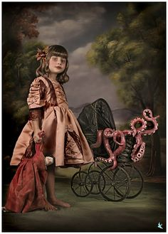 [ • little girl - neo-Victorian - baby carriage - tentacles - photography • ]