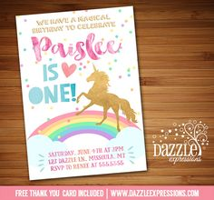 Printable Watercolor and Gold Unicorn Birthday Invitation | Rainbow Confetti | Magical | Little Girls Birthday Party | Digital File | Kids Birthday Party Idea or any event | Baby Shower | Bridal Shower | FREE thank you card | Party Package Available | Banner | Cupcake Toppers | Favor Tag | Food and Drink Labels | Signs | Candy Bar Wrapper | www.dazzleexpressions.com