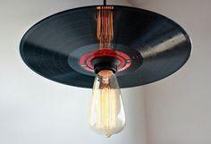 Vinyl Record Pendant Light - Rock N' Roll Decor - Record Player Stand Lighting…