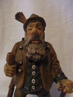 Vintage German Black Forest Carved Wood Hunting Man #P
