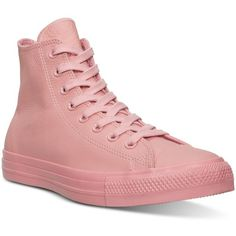 Converse Women's Chuck Taylor Hi Pastel Leather Casual Sneakers from... ($70) ❤ liked on Polyvore featuring shoes, sneakers, daybreak pink, pastel sneakers, leather trainers, converse trainers, vintage footwear and vintage leather shoes