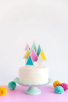 DIY Christmas Tree Cake Topper - create your own brightly colored tree cake topper for your Holiday gatherings and parties