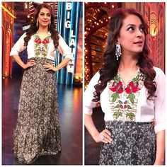 Juhi Chawla : #JuhiChawla With the team of Entertainment Ki Raat..we had such a lovely lovely time & some good laughs..!!  Outfit  @huefashions Jewellery  @jet_gems Styled by  @karishmagulati Hair  @hairbymegha Mkup  @sangeeta_rawal Show : @entertainmentkiraat