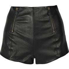 High-waisted leather shorts ($310) ❤ liked on Polyvore