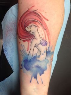 Ariel, the Little Mermaid, watercolor tattoo