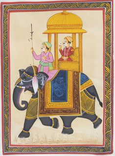 Vintage ethnic indian silk painting,Hand painted,Wall Decor Art,Portrait Art, Royal Indian King & Elephant Wall Decor Tapestry,Miniature