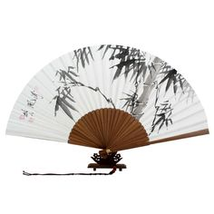 Hand Bamboo Painting Folding Korean Chinese Japanese White Rice Paper Art Wood Asian Oriental Wall Decorative Wedding Party Fan