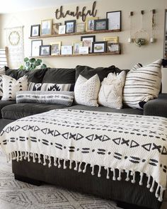 We are in LOVE with this living room and this couch! 😍 It looks so comfy with those pillows and blanket! TAG a friend… Living Room Remodel, Home Living Room, Living Room Furniture, Living Room Designs, Home Furniture, Living Room Decor, Rustic Furniture, Picture Wall Living Room, Living Room Pictures