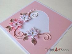 Paper Quilling Card for the wedding day of TipTopArtShop on Etsy - Basteln - Karten - Valentinstag Paper Quilling Cards, Paper Quilling Patterns, Quilled Paper Art, Quilling Craft, Quilling Flowers, Quilling Birthday Cards, Paper Flowers, Quiling Paper, Quilling Tutorial