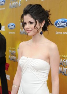Selena Gomez, wedding hair, messy updo, bridal hair, messy bun, tousled bun, soft curls, wedding hair, wedding updo