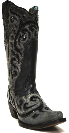 Corral Women's Black Inlay w/ Laser Etched Snip Toe Boots -- Our Fall Obsession! | SouthTexasTack.com
