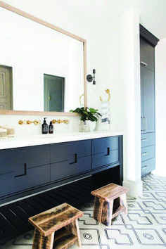 modern farmhouse master bathroom renovation with delta 50 Black Cabinets Bathroom, Bathroom Floor Tiles, Bathroom Wall, Shower Tiles, Black Bathroom Furniture, Bling Bathroom, Concrete Bathroom, Brass Bathroom, Cement Tiles