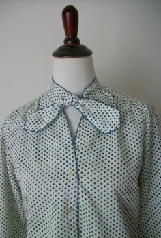 Vintage 1970s Green Polkadot Bow Blouse - pinned by pin4etsy.com