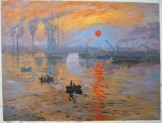 Hand painted oil painting reproduction on canvas of Impression Sunrise by artist Monet as gift or decoration by customer order. Description from chinaoilpaintinggallery.com. I searched for this on bing.com/images