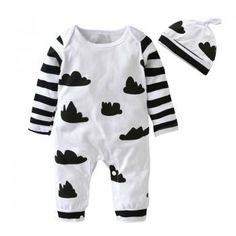 2-piece Baby's Cloud Print Stripes Long-sleeve Jumpsuit and Hat Set