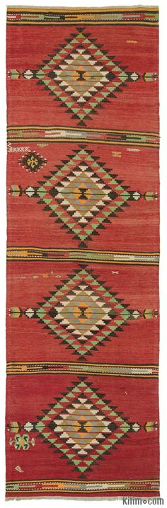 Beautiful vintage kilim runner rug handwoven in 1960's in the Sivas region of Central Anatolia, Turkey. This tribal red kilim runner is in very good condition.
