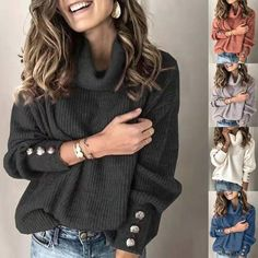Plus Size Long Sleeve Plain Casual Sweater Womens Turtleneck Street Tops Pullover Warm Knitted Loose Knit Sweaters, Thick Sweaters, Pullover Sweaters, Sweaters For Women, Jumper, Oversized Sweaters, Women's Sweaters, Winter Sweaters, Pullover Outfits