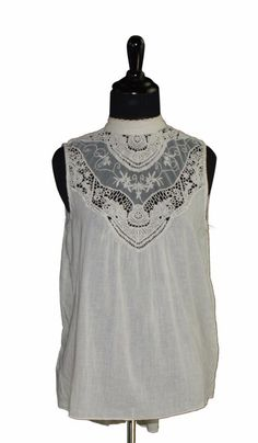 Rubbish High Neck Lace Inset Sleeveless Shirt Small Beige FTC #3522