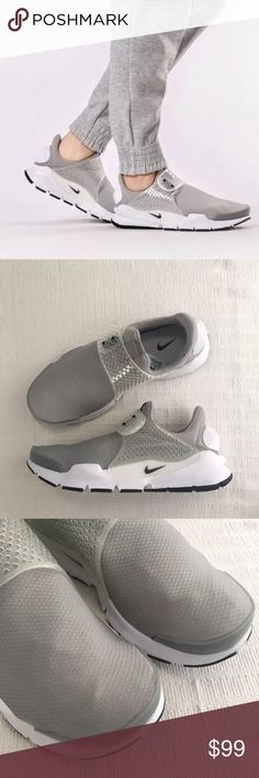 Women's Nike Sock Dart Grey Low Running Sneakers Women's Nike Sock Dart Grey Low Running Sneakers. A minimalist approach and ultra-comfortable style combine in the shoes for a superior, sock like fit that is unparalleled. Style/Color: 848475-001  * Women's size 9  * NEW in box (no lid) * No trades * 100% authentic Nike Shoes Sneakers