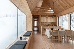 The cabin's shape and height of the roof creates a cathedral-like ceiling. Small Tiny House, Tiny House Living, A Frame Cabin, A Frame House, Building A Small Cabin, Building A House, Wooden Cabins, Wooden House, House In The Woods