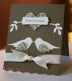 handmade annivesary card ... Love Birds using bird punch ... chocolate and vanilla ... one layer ... Stampin' Up!