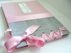 Newest design based on the color theme of Silver and Pink Bridal Shower Guest Book, custom design pages by MichelleWorldesigns