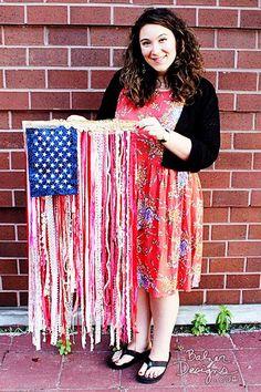 DIY Ribbon Flag Tutorial by Balzer Designs Patriotic Crafts, July Crafts, Holiday Crafts, Fourth Of July Decor, 4th Of July Decorations, July 4th, Americana Decorations, Diy Ribbon, Ribbon Crafts