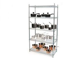5 Tier Hygienic Wire Chrome Shelving Kit, W: 750mm x H: 1700mm x H: 400mm
