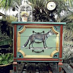 Give a bland side table personality with whimsical woodland creature decoupage.