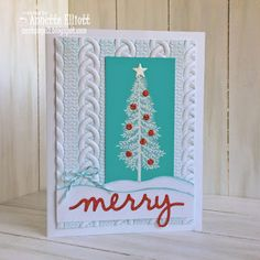 stamps: Thoughtful Branches ink: Bermuda Bay and Versamark paper: Whisper White, Bermuda Bay accessories: Cable Knit Embossing Folder (Holiday Catalog), Christmas Greetings Thinlits, Mini Treat Bag Thinlits, Dazzling Diamonds and Red Glimmer Paper, White Stampin' Emboss powder, Bermuda Bay Bakers Twine, Fine Tip Glue pen.