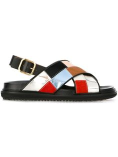 Shop Marni colour block 'Fussbett' sandals in Bagheera from the world's best independent boutiques at farfetch.com. Shop 400 boutiques at one address.