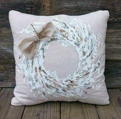 Farmhouse Wreath All Season Wreath Holiday Pillow Christmas image 1 Diy Pillow Covers, Diy Pillows, Decorative Pillows, Handmade Pillows, Christmas Cushions, Christmas Pillow, Christmas Cover, Etsy Christmas, Holiday Wreaths