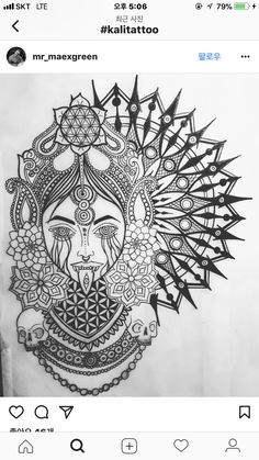 Kali Hindu Tattoos, God Tattoos, Buddha Tattoos, Body Art Tattoos, Tattoo Drawings, Sleeve Tattoos, Kali Tattoo, Flower Of Life Tattoo, Geometric Sleeve Tattoo