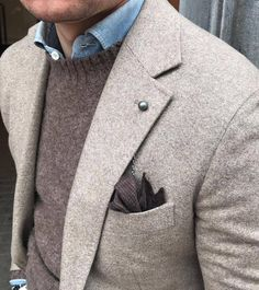 - with a great use of color in this business casual look with a brown plaid pocket square silver lapel chain gray wool jacket charcoal gray sweater denim button up shirt. Stylish Men, Men Casual, Herren Outfit, Mens Fashion Suits, Men Style Tips, Suit And Tie, Well Dressed Men, Gentleman Style, Blazers For Men
