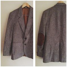 Vintage Men's Tweed Brown Blazer with Leather Elbow Patches by TheBlackVinyl, #menswear #tweedjacket #mensblazer #menssuit #mensfashion #mensstyle #elbowpatches