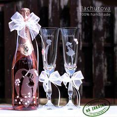 Svatební šampus Bohemia sekt_ / Zboží prodejce ArtBach | Fler.cz Flute, Champagne, Bottle, Rose, Tableware, Pink, Dinnerware, Flask, Tablewares