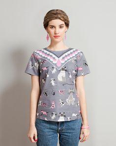 cat print shirt Supayana Small, Medium, and Large. $59.00, via Etsy.