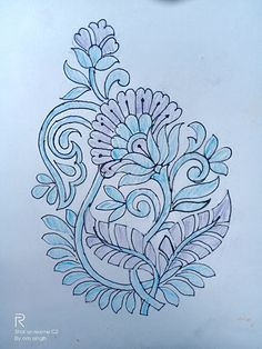 Book Cover Artwork, Border Embroidery Designs, Mehndi Designs Book, Embroidery Art, Flower Art Drawing, Fabric Painting, Wreath Drawing, Paisley Art, Sketch Design