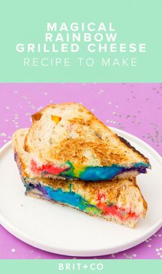 Upgrade Your Sandwich With This Magical Rainbow Grilled Cheese Recipe via Brit + Co - this is disturbing but also awesome Rainbow Grilled Cheese, Grilled Cheese Recipes, Grilled Cheeses, Good Food, Yummy Food, Fun Food, Brit, Rainbow Food, Rainbow Stuff