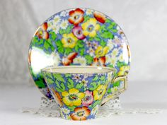 Antique Royal Winton Teacup, Grimwades Anemone, Chintz Tea Cup, and Saucer