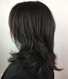 60 Lovely Long Shag Haircuts for Effortless Stylish Looks Black Mid-Length Shag Hairstyle Medium Shag Haircuts, Shag Hairstyles, Sleek Hairstyles, Layered Haircuts, Feathered Hairstyles, Modern Shag Haircut, Long Shag Haircut, Haircut For Thick Hair, Shaggy Hair