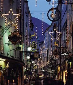 Christmas in Salzburg, Austria  We walked down this street in summertime- can't wait to see it in winter!